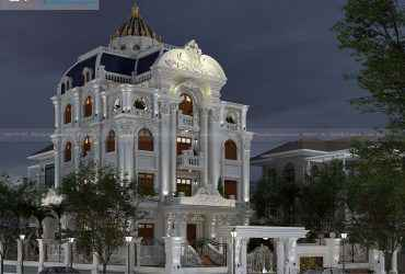 Thiết kế lâu đài 4 tầng tân cổ điển kiểu Pháp