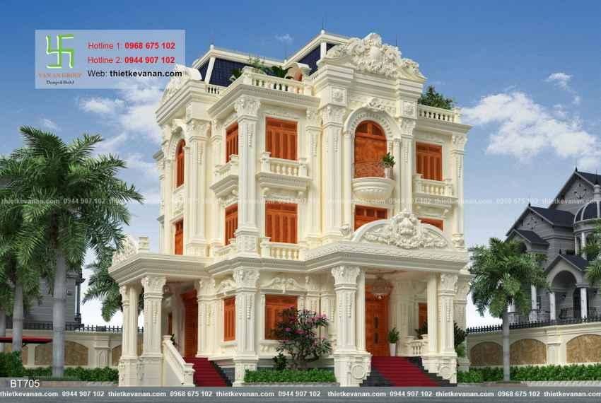 Thiết kế biệt thự tân cổ điển 3 tầng đẹp mọi góc nhìn tại Hải Phòng 70501