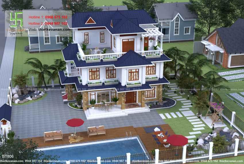 Thiết kế biệt thự nhà vườn đẹp cho Ông bà Thúy Hạ tại Cần Thơ BT 8062