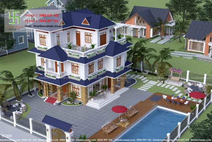 Thiết kế biệt thự nhà vườn đẹp cho Ông bà Thúy Hạ tại Cần Thơ BT 8063