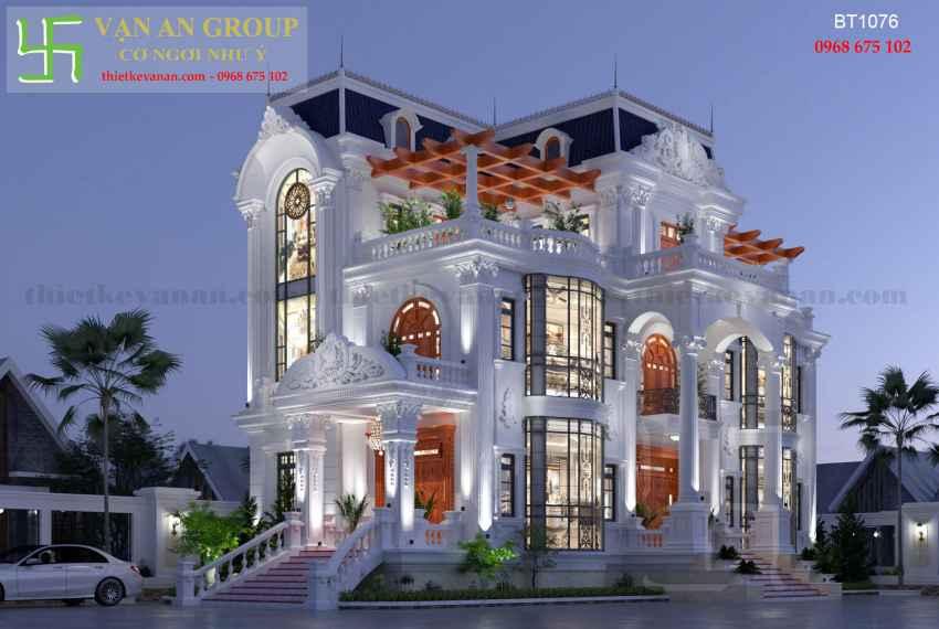 Thiết kế biệt thự 3 tầng đẹp kiến trúc tân cổ điển tại Hà Nội BT 10767