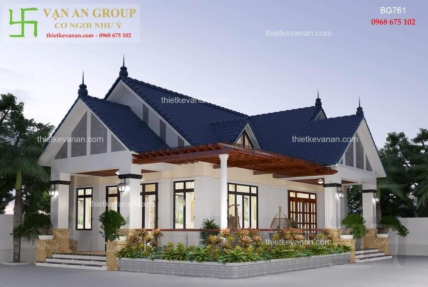 Mẫu nhà cấp 4 đẹp kiến trúc mái thái thiết kế vạn an group 2812197612