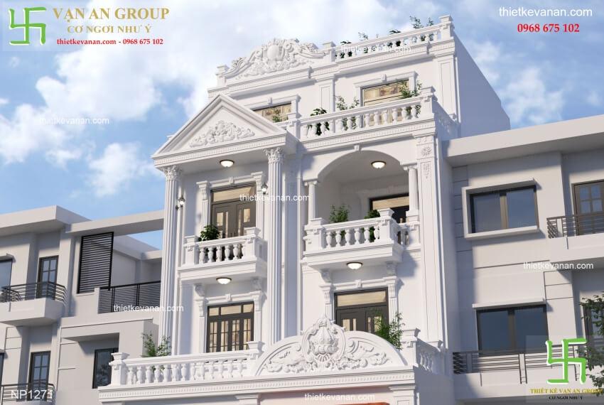 Chi tiết thiết kế biệt thự phố đẹp kiến trúc tân cổ điển NP 12715