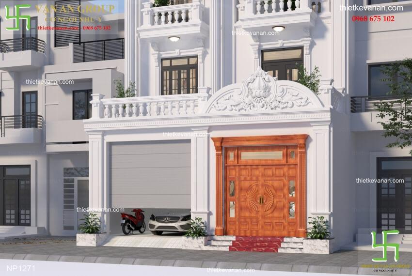 Chi tiết thiết kế biệt thự phố đẹp kiến trúc tân cổ điển NP 12716