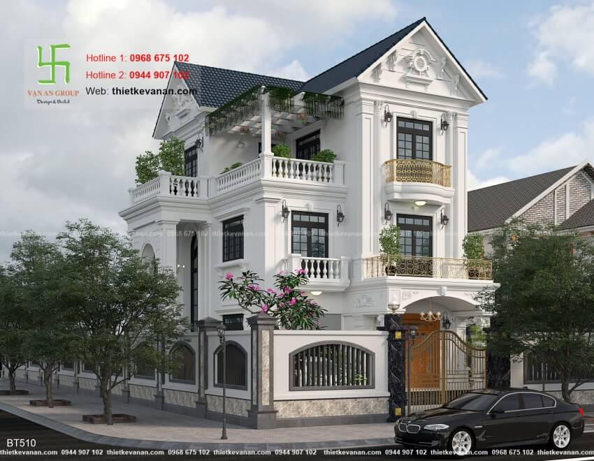 mẫu nhà biệt thự 3 tầng mái thái