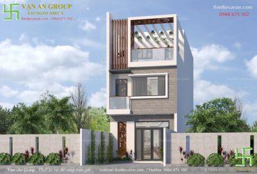Nhà liền kề 3 tầng đẹp kiến trúc hiện đại BT 1511