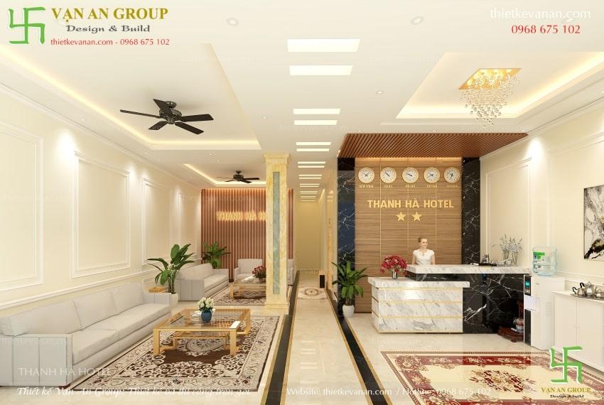 thiết kế sảnh lễ tân khách sạn đẹp