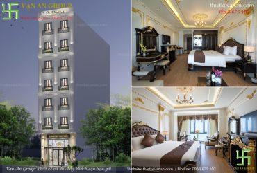Thiết kế khách sạn mini 8 tầng đẹp kiến trúc Châu Âu