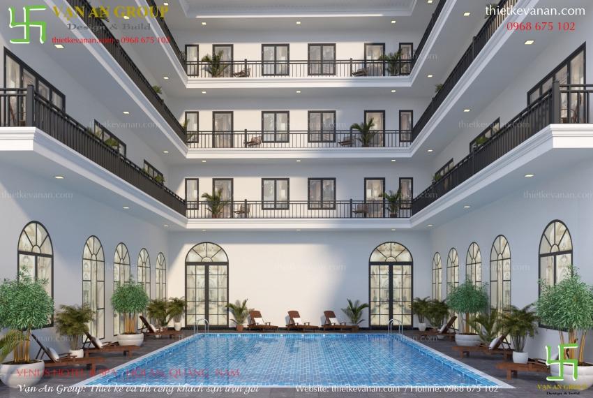 thiết kế khách sạn có bể bơi đẹp