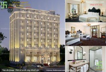 Thiết kế khách sạn 9 tầng đẹp kiến trúc Châu Âu