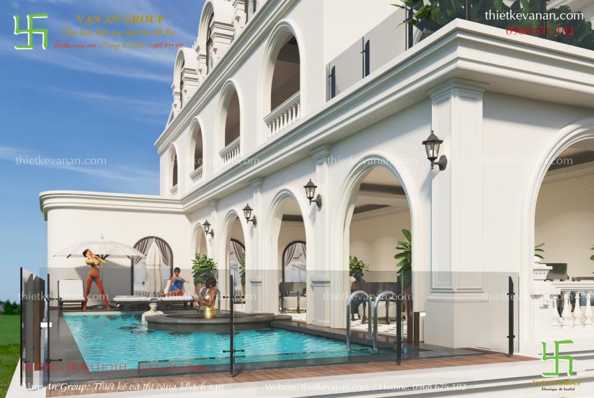 thiết kế khách sạn có bể bơi